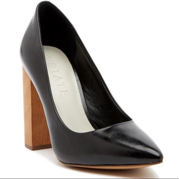 55eeeddbc732 1. State Shoes | 1 State Black Leather Block Heel Pump | Poshmark